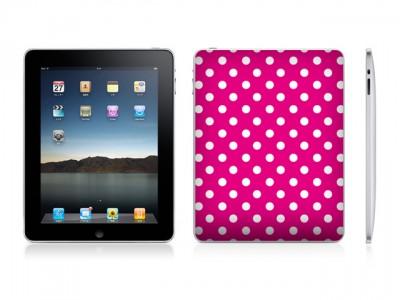 ドットパターンD(マゼンタ/ホワイト)-iPad用背面スキンカバー